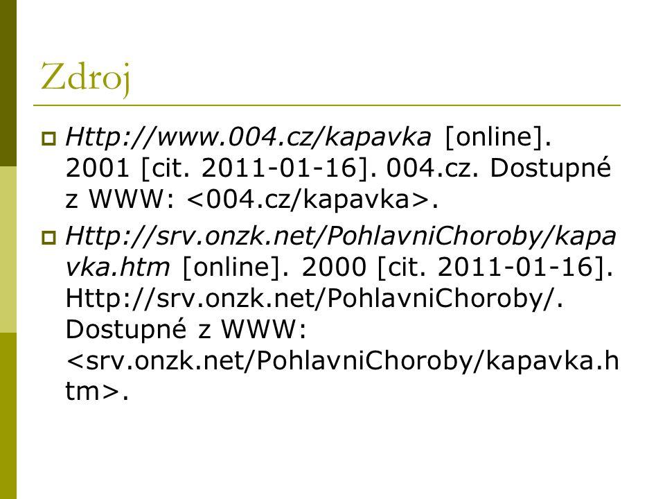 Zdroj Http://www.004.cz/kapavka [online]. 2001 [cit. 2011-01-16]. 004.cz. Dostupné z WWW: <004.cz/kapavka>.